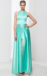 Jewel Neck Split-Front Long Prom Dress