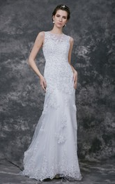 Sleeveless High Neck Sheath Lace Gown With Beading and Illusion Back