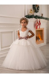 Flower Girl Cap Sleeve Tulle Ball Gown With Lace Up and Bow