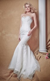 Sultry Sweetheart Crystal-beaded Mermaid Soft Net Wedding Gown