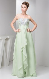 Sleeveless Chiffon Floor-Length Empire Sequined Top and Dress With Draping