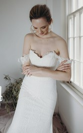 Off-the-shoulder Elegant Sheath Sweetheart Lace Open Back Wedding Dress With Buttons