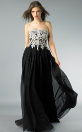 A-line Floor-length Strapless Sleeveless Chiffon Backless Dress