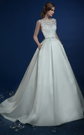 A-Line Long Jewel-Neck Sleeveless Keyhole Satin Dress With Appliques And Beading