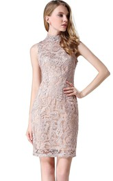 Sleeveless High-neck Allover Lace Dress with Zipper