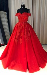 Ball Gown Lace Tulle Off-the-shoulder Short Sleeve Zipper Dress