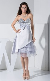 Unique Sequined Sweetheart Knee Dress With Bowed Sash and Tiered Ruffle