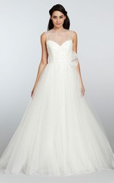 Glamorous Illusion Neckline Tulle Dress With Beaded Detail