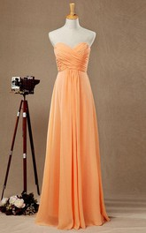 Sweetheart A-line Chiffon Long Dress With Criss Cross Bodice