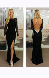 Mermaid Long Lace Sleeves Chiffon Dress with Deep V Back