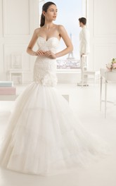 Sweetheart Lace Bodice Lavish Dress With Tiers