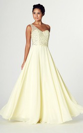 Sleeveless Beaded One-Shoulder Chiffon Prom Dress