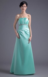 Strapless A-Line Satin Gemmed Waist and Dress With Ruching