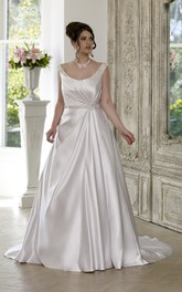 A-Line Floor-Length Scoop Neck Sleeveless Satin Court Train Lace-Up Back Draping Dress