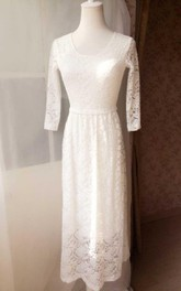 Lace 3-4 Sleeve Column Dress With Scoop Neckline