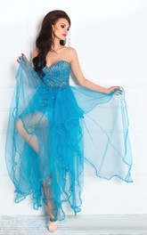 A-Line Anckle-Length Asymmetrical Train Sweetheart Sleeveless Tulle Beading Ruffles Backless Dress