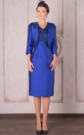 Knee-Length 3-4 Sleeve V-Neck Appliqued Satin Mother Of The Bride Dress
