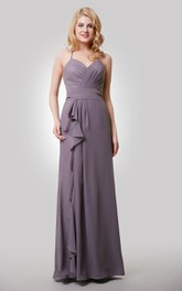 Sweetheart Long Chiffon Dress With Side Draping and Spaghetti Straps