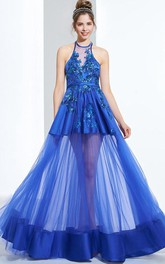 A-Line Halter Appliques Sequins Floor-Length Prom Dress