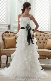 Fairy Strapless A-Line Tiered Gown With Bow and Ruffles