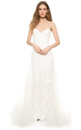Long Spaghetti A-line Organza Dress With Low-V Neckline