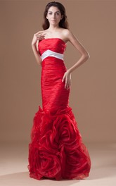 Brilliant Sleeveless Floral Organza Satin Special Occasion Dresses