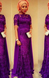 Gorgeous Purple Short Sleeve Evening Dress 2018 Floor Length
