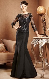 3-4 Sleeved Mermaid Gown With Illusion Lace Bodice