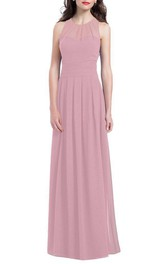 Illusion Chiffon Long Bridesmaid Dress with Ruching
