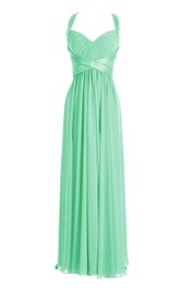 Halter Pleated Chiffon A-line Gown With Deep-v Back