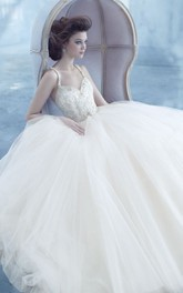 Stylish Sleeveless Tulle Ball Gown With Beaded Jeweled Bodice