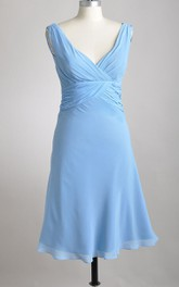 Knee-length Deep-V A-line Pleated Chiffon Bridesmaid Dress