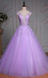 Ball Gown Floor-Length V-Neck Bell Cap Beading Flower Corset Back Tulle Lace Sequins Dress