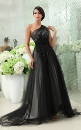 Graceful One-Shoulder Layered Tulle Gown With Side Zipper