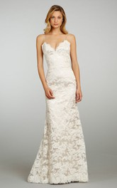 Classic Spaghetti Strap Lace Over Satin Gown With Lace Up Back