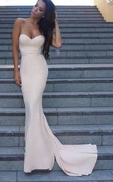 Mermaid Trumpet Satin Sweetheart Sleeveless Open Back Backless Zipper Dress