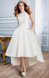 High-Low Sleeveless High Neck Appliqued Satin Wedding Dress With Keyhole
