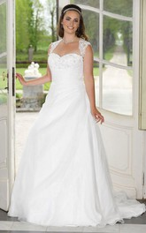 A-Line Floor-Length Queen Anne Sleeveless Satin Sweep Train Appliques Dress