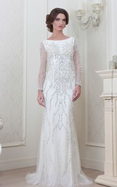 Sheath Floor-Length Beaded Long-Sleeve Jewel-Neck Tulle Evening Dress