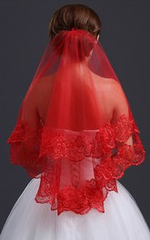 Red Lace Applique Veil