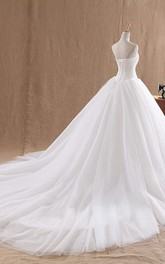 Ball Gown Sweetheart Sleeveless Tulle Lace Organza Dress
