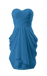 Sweetheart Asymmetrical Ruched Bodice Knee-length Ruffled Chiffon Dress