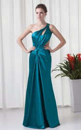 One-Shoulder Floor-Length Satin Epaulet and Dress With Keyhole