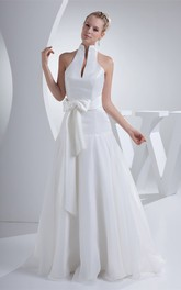 High-Neck Pleated A-Line Halter and Dress With Ribbon
