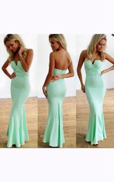 Strapless V-cut Neck Long Mermaid Chiffon Dress