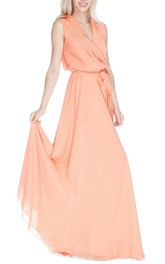 V Neck Pleated A-line Chiffon Floor Length Dress With Sash