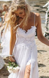 Elegant Spaghetti Straps Lace Appliqeus Beach Prom Dress Long Chiffon