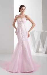 Sweetheart Column Crystal Detailing and Dress With Appliques