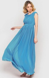 Scoop Neck Cap Sleeve Pleated A-line Chiffon Ankle Length Dress Sky Blue