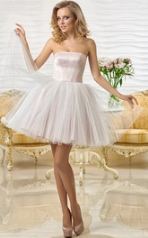 Strapless Mini Sleeveless Tulle Prom Dress